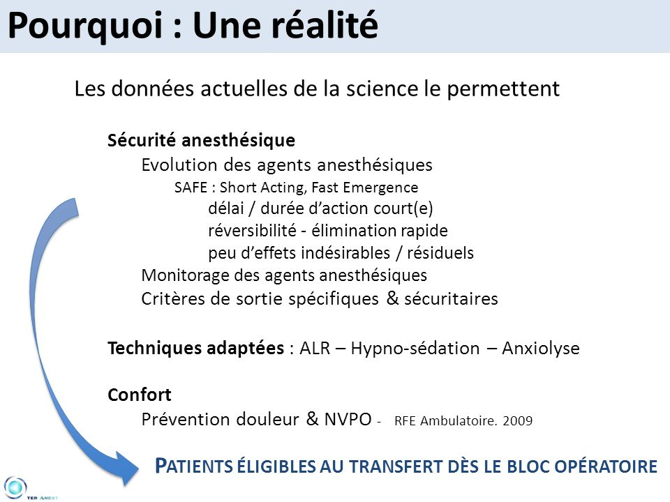 Pourquoi : Une réalité Les données actuelles de la science le permettent. Sécurité anesthésique. Evolution des agents anesthésiques.