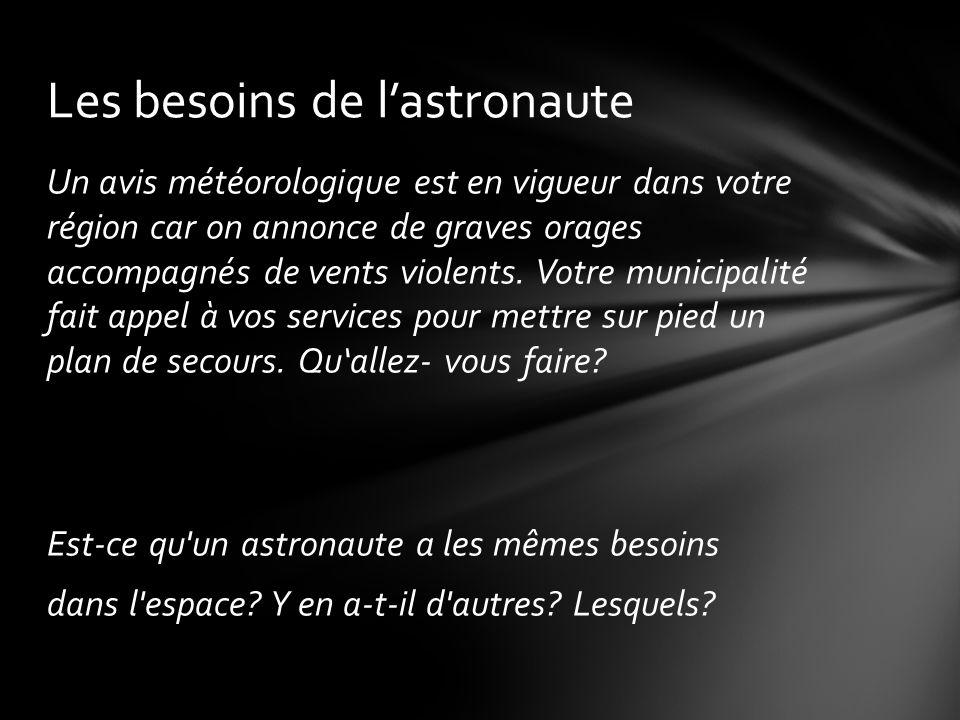 Les besoins de l'astronaute