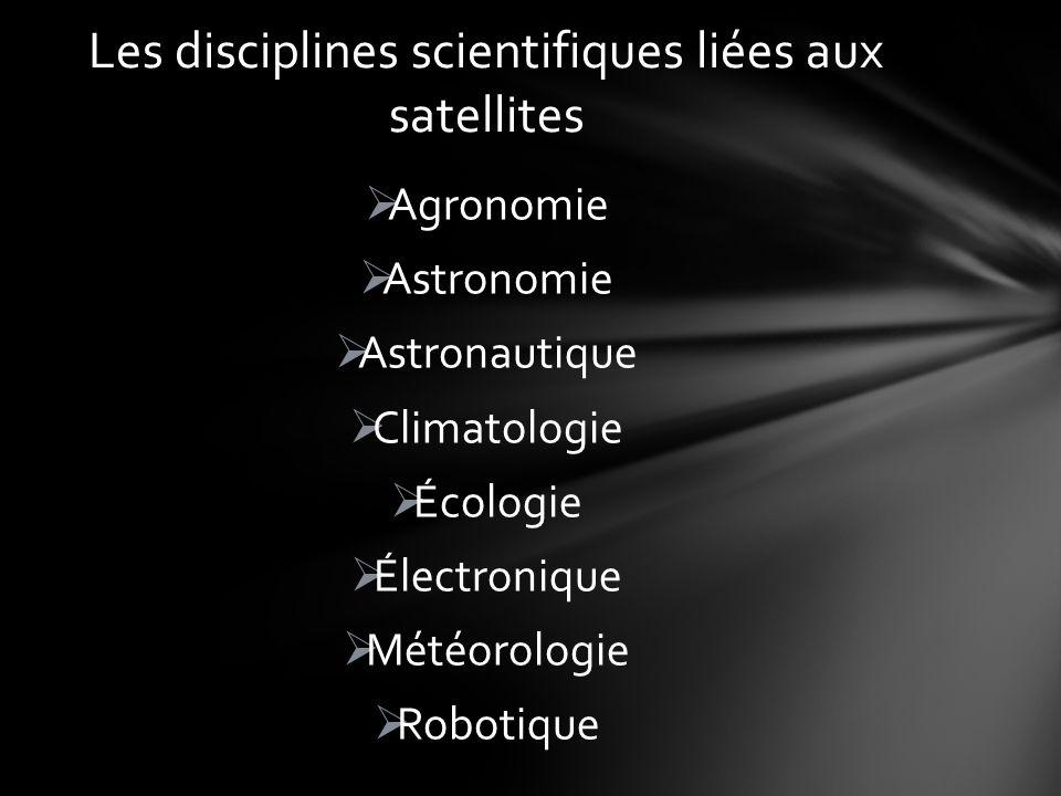 Les disciplines scientifiques liées aux satellites