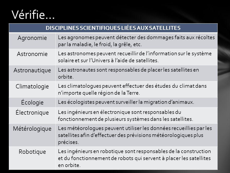 DISCIPLINES SCIENTIFIQUES LIÉES AUX SATELLITES