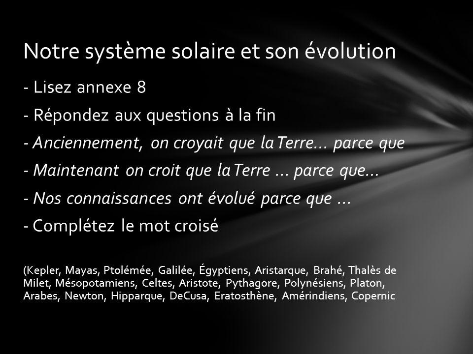 Notre système solaire et son évolution