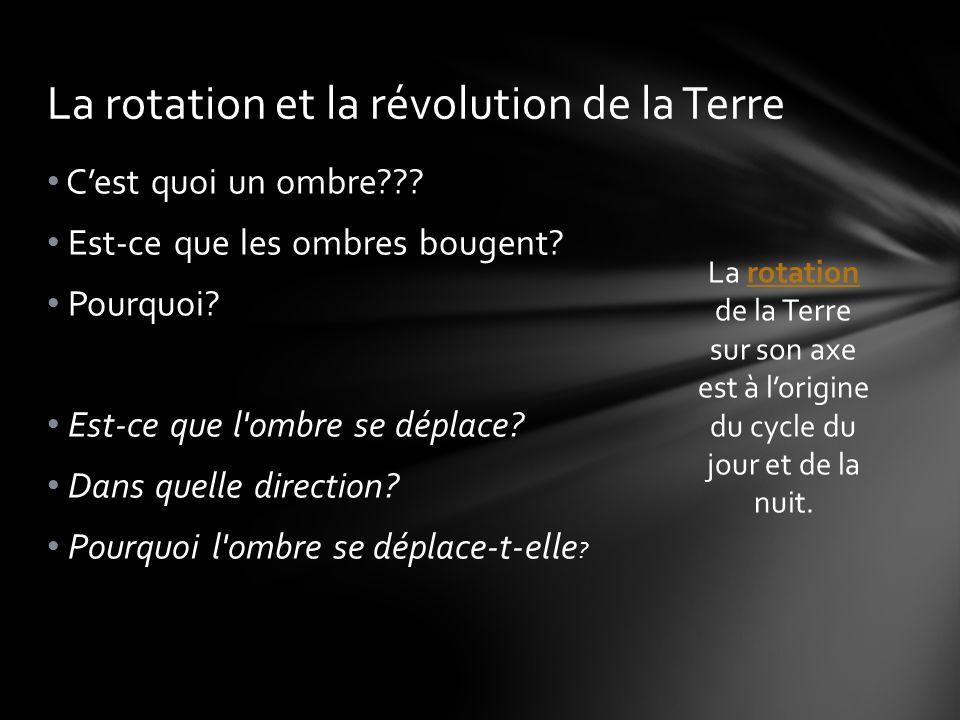 La rotation et la révolution de la Terre