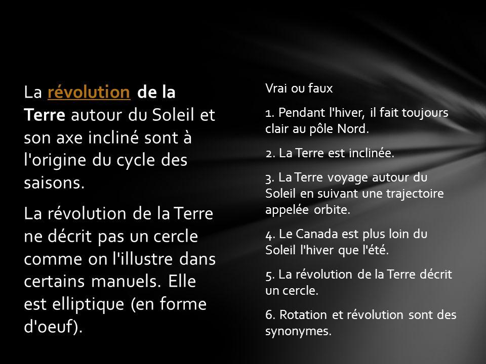 La révolution de la Terre autour du Soleil et son axe incliné sont à l origine du cycle des saisons. La révolution de la Terre ne décrit pas un cercle comme on l illustre dans certains manuels. Elle est elliptique (en forme d oeuf).