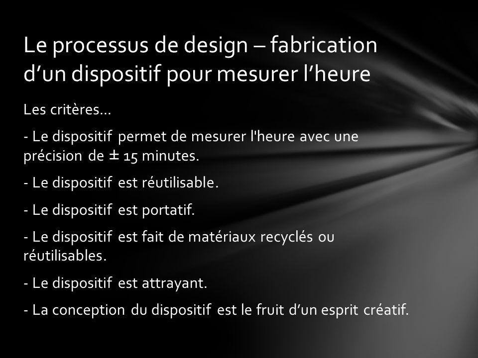 Le processus de design – fabrication d'un dispositif pour mesurer l'heure