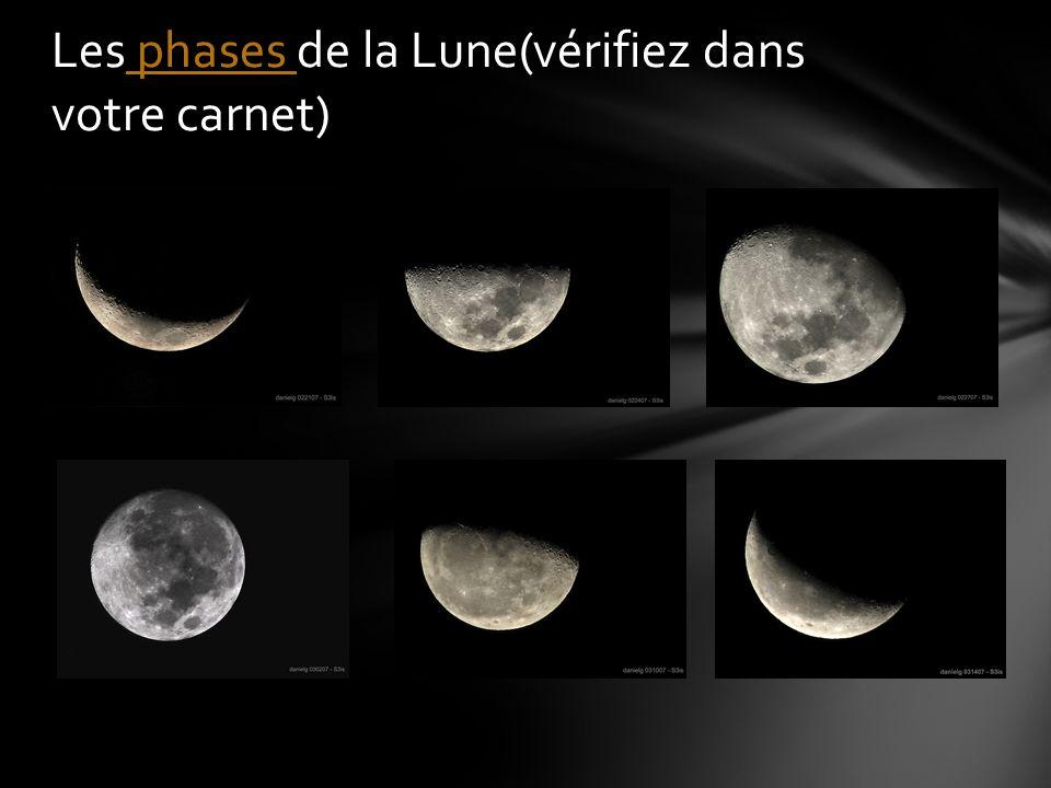 Les phases de la Lune(vérifiez dans votre carnet)