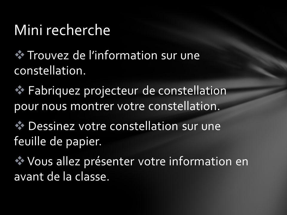 Mini recherche Trouvez de l'information sur une constellation.