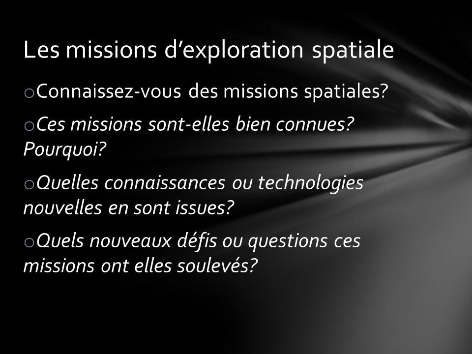 Les missions d'exploration spatiale