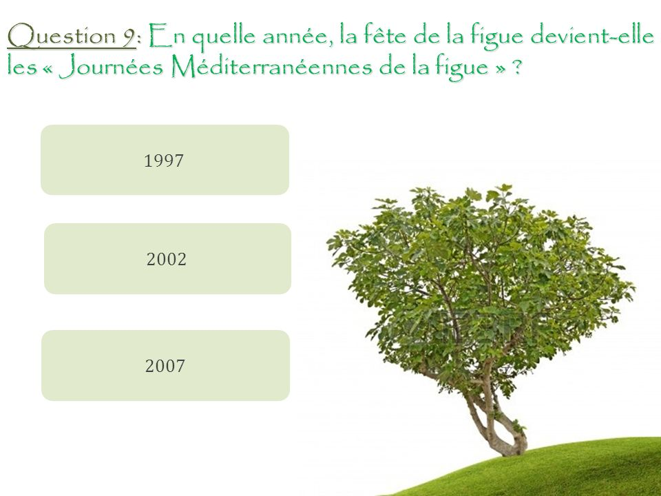 Question 9: En quelle année, la fête de la figue devient-elle les « Journées Méditerranéennes de la figue »