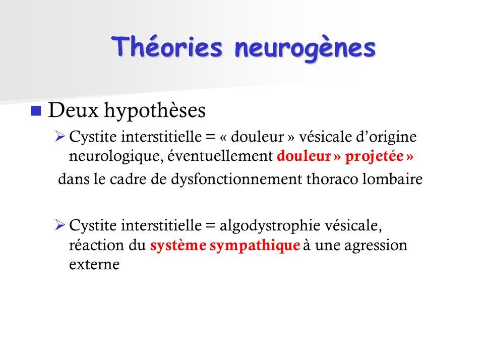 Théories neurogènes Deux hypothèses