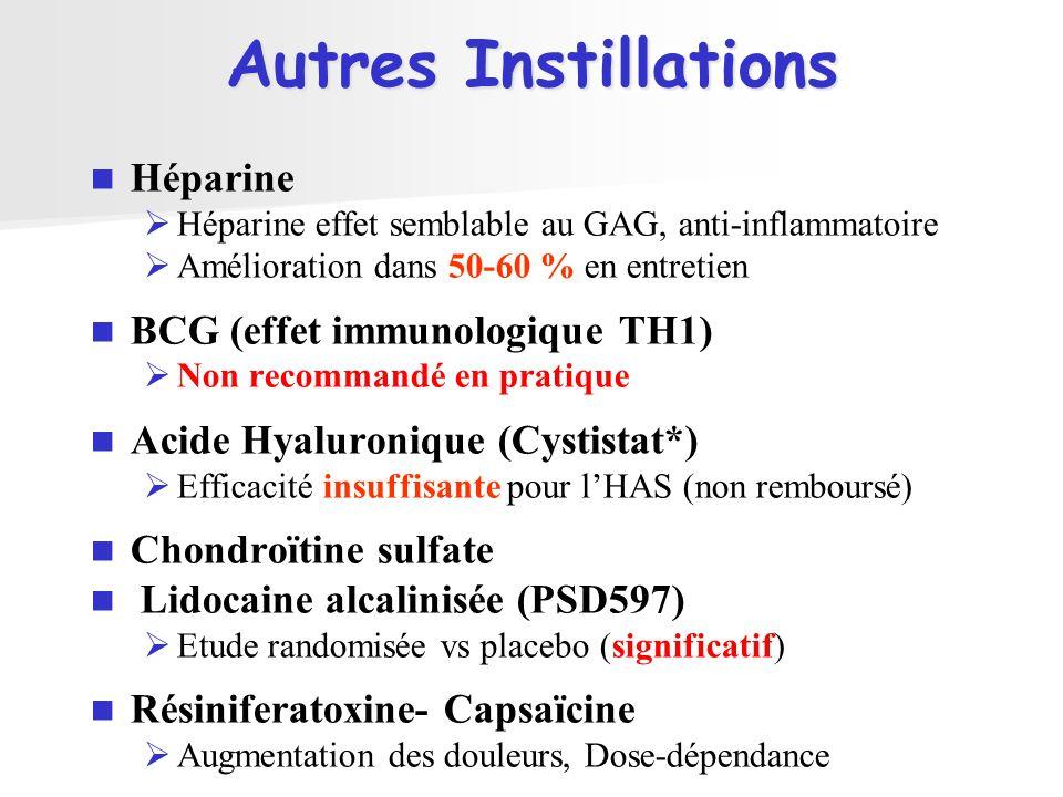 Autres Instillations Héparine BCG (effet immunologique TH1)
