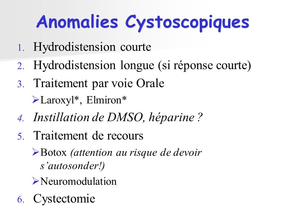 Anomalies Cystoscopiques