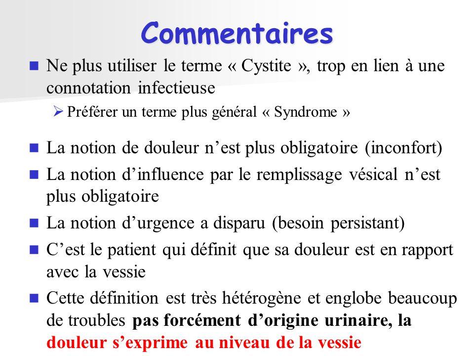 Commentaires Ne plus utiliser le terme « Cystite », trop en lien à une connotation infectieuse. Préférer un terme plus général « Syndrome »