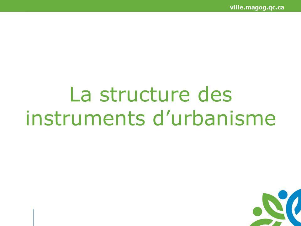 La structure des instruments d'urbanisme