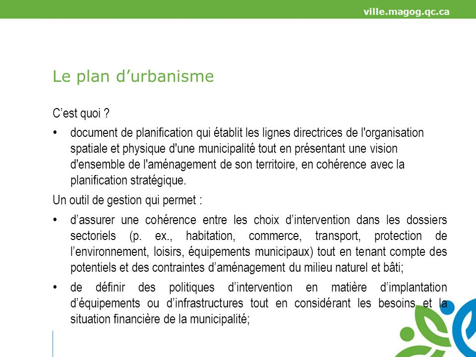 Le plan d'urbanisme C'est quoi