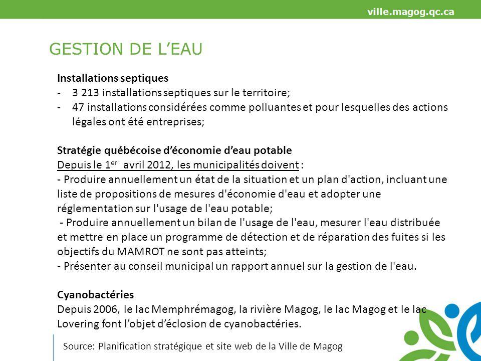 GESTION DE L'EAU Installations septiques