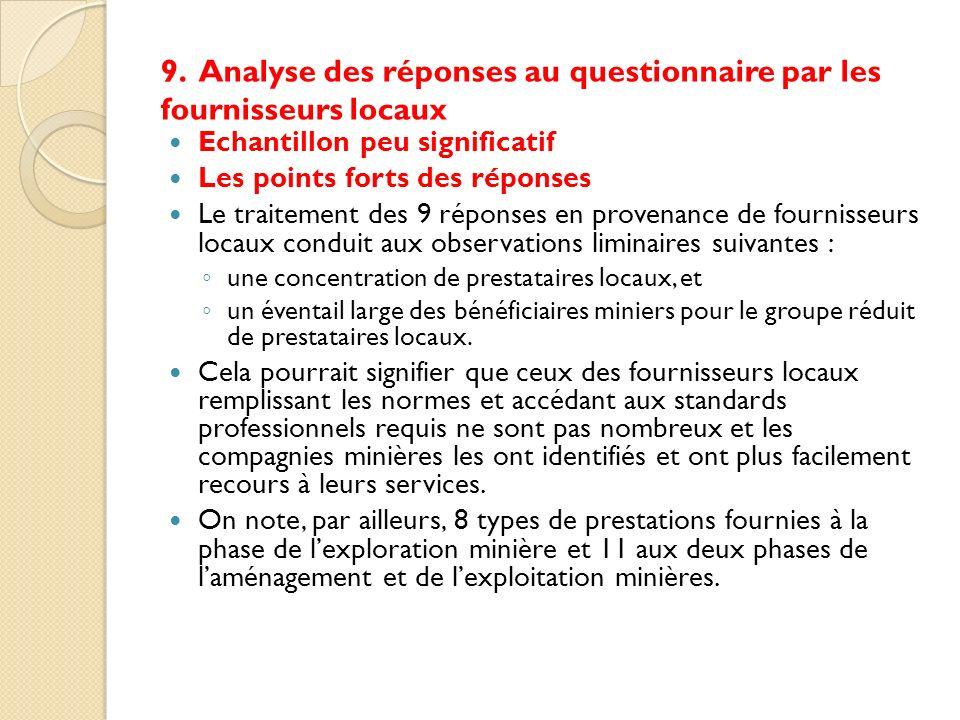 9. Analyse des réponses au questionnaire par les fournisseurs locaux