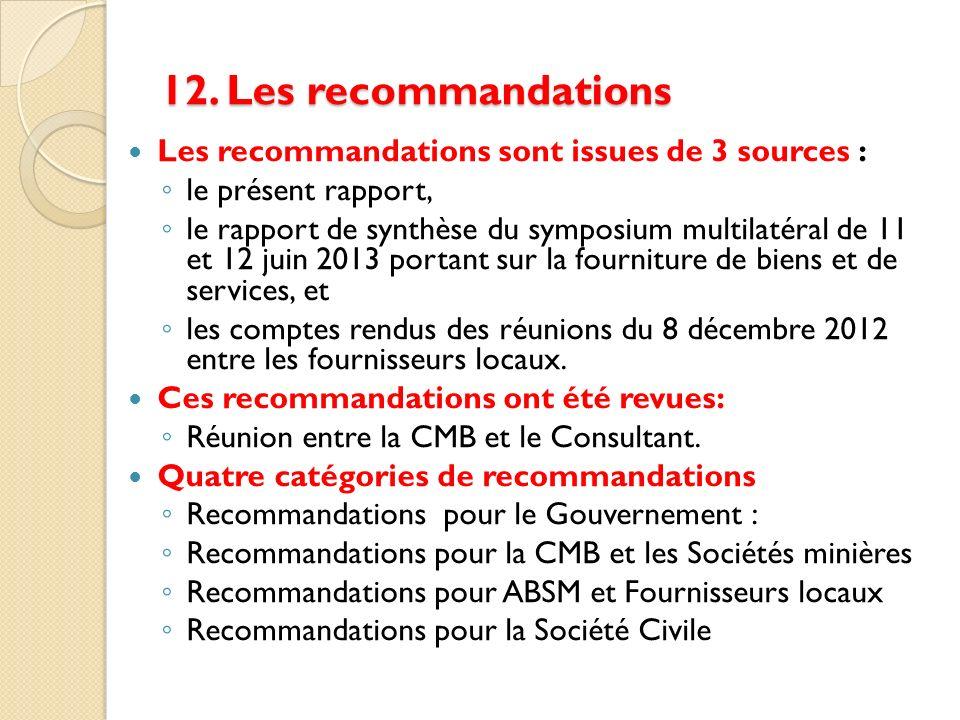 12. Les recommandations Les recommandations sont issues de 3 sources :