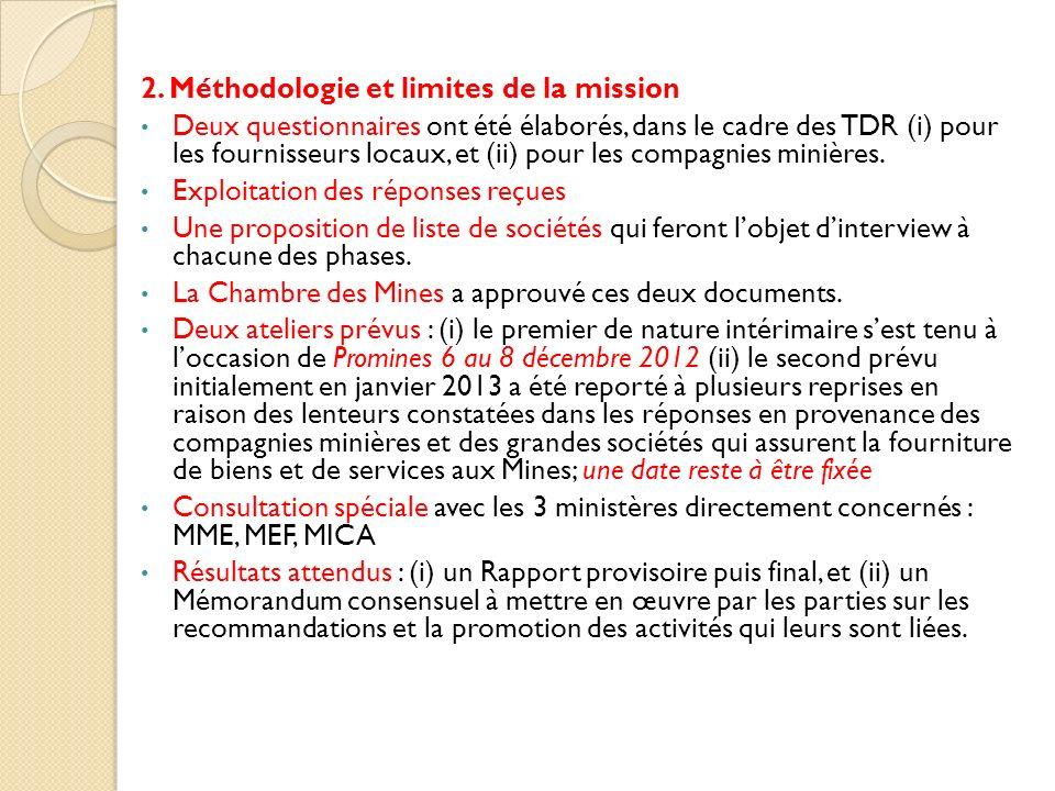 2. Méthodologie et limites de la mission