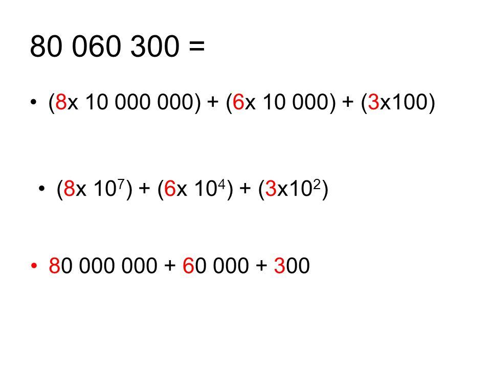 80 060 300 = (8x 10 000 000) + (6x 10 000) + (3x100) (8x 107) + (6x 104) + (3x102) 80 000 000 + 60 000 + 300.