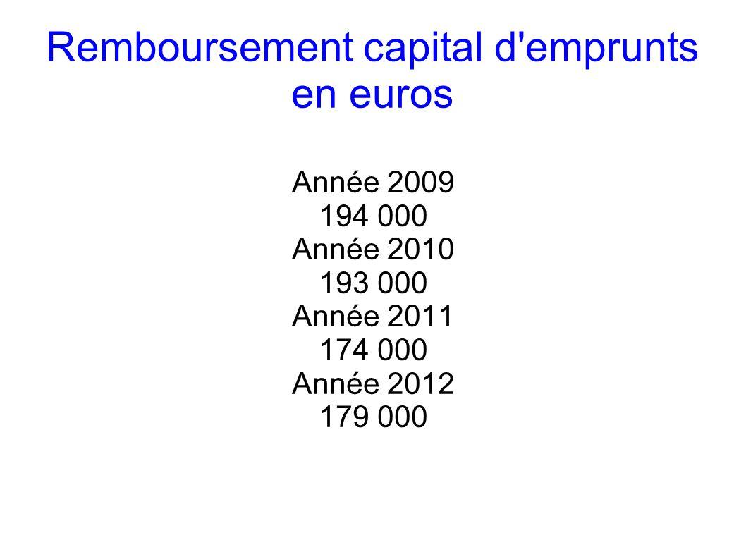 Remboursement capital d emprunts en euros