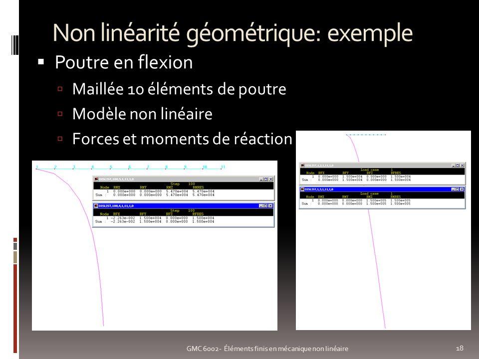 Non linéarité géométrique: exemple