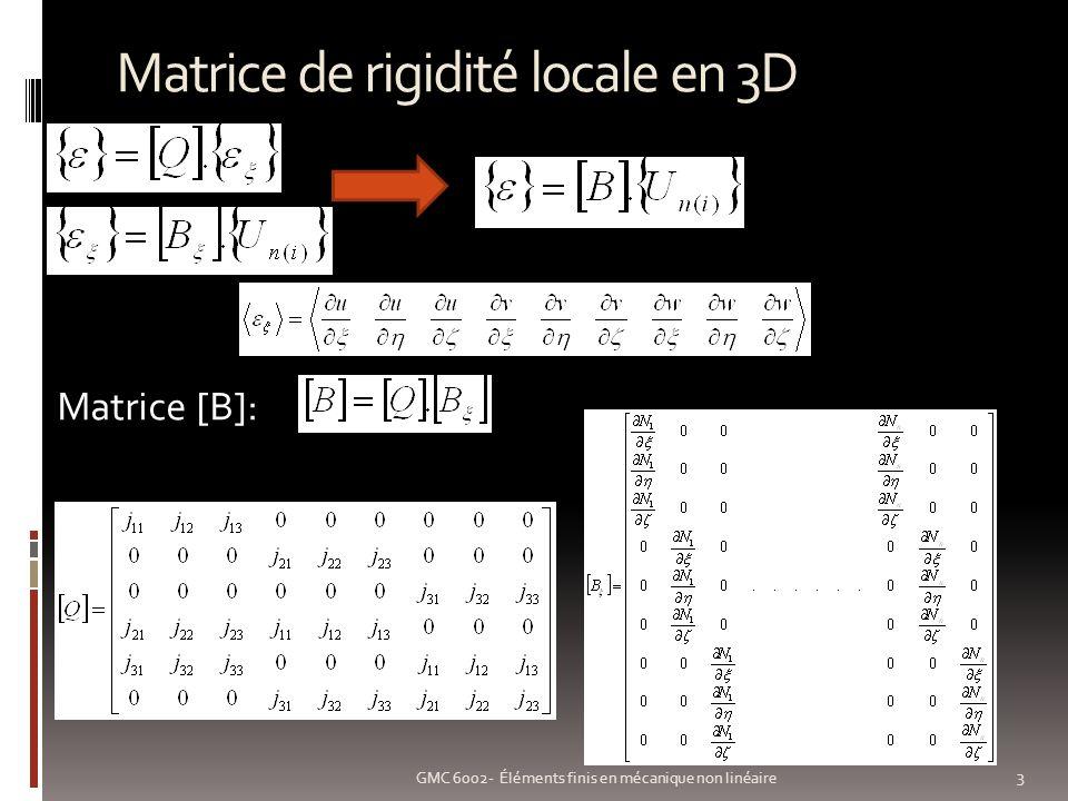 Matrice de rigidité locale en 3D