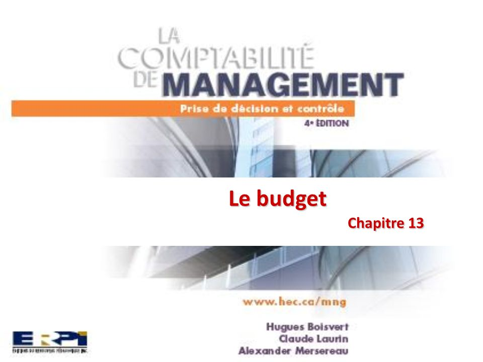 Le budget Chapitre 13