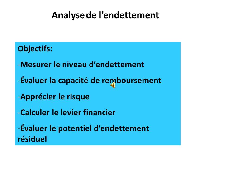Analyse de l'endettement