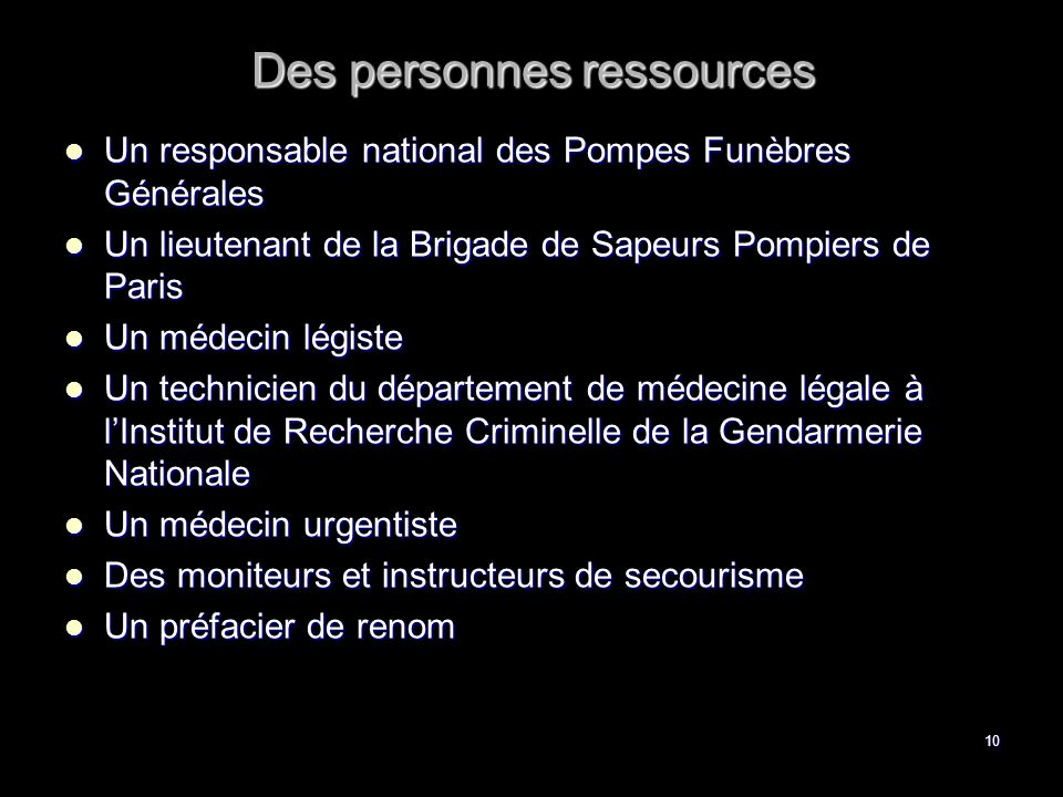 Des personnes ressources
