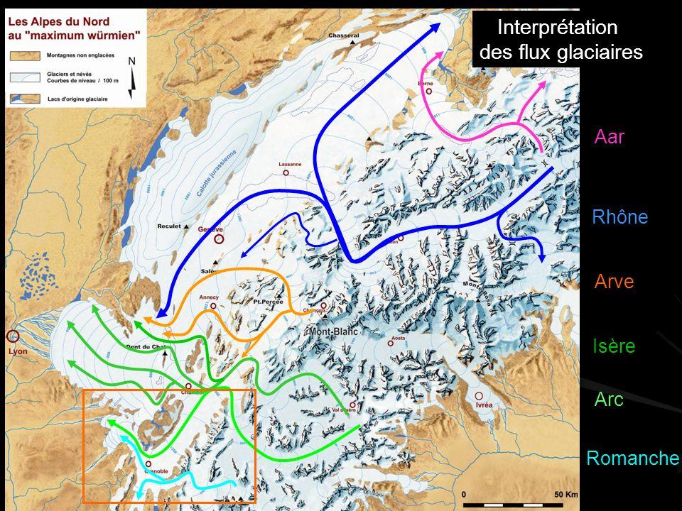 Interprétation des flux glaciaires Aar Rhône Arve Isère Arc Romanche