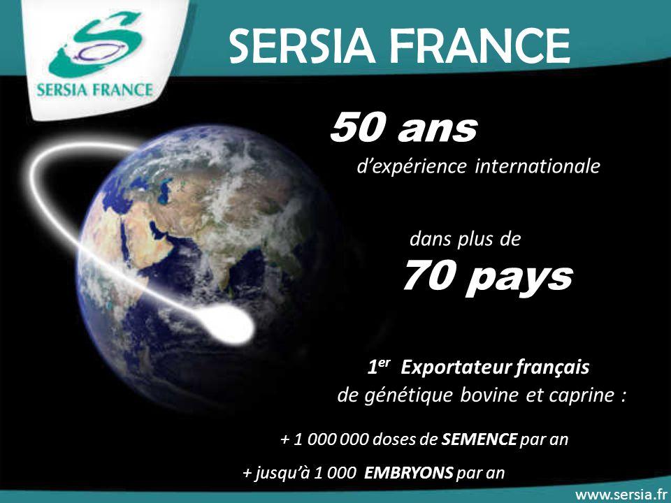 SERSIA FRANCE 50 ans 70 pays 1er Exportateur français