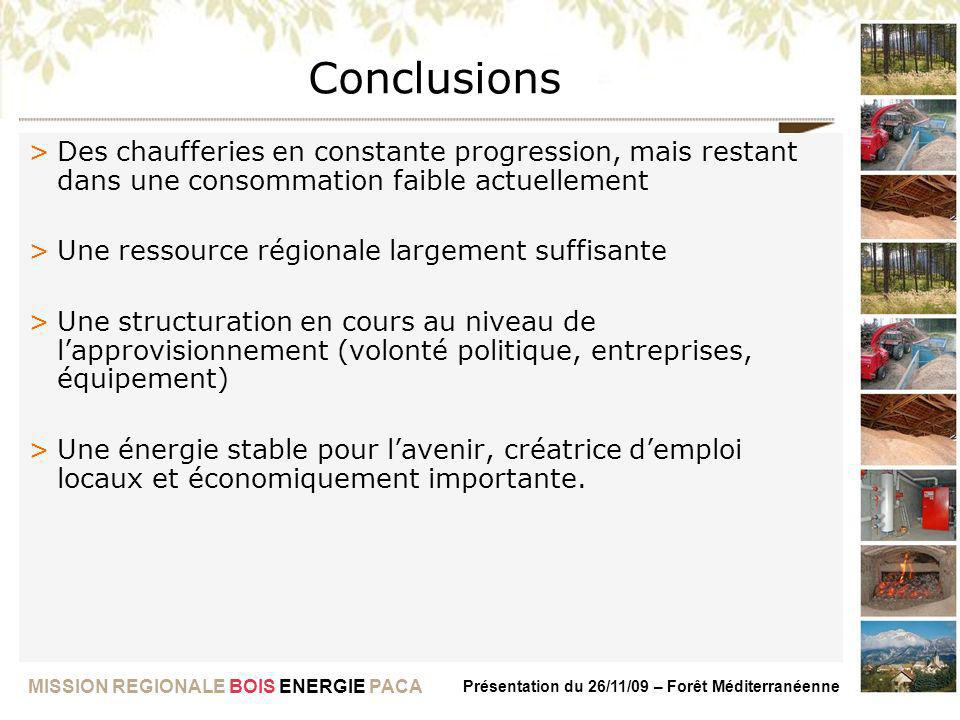 Conclusions Des chaufferies en constante progression, mais restant dans une consommation faible actuellement.