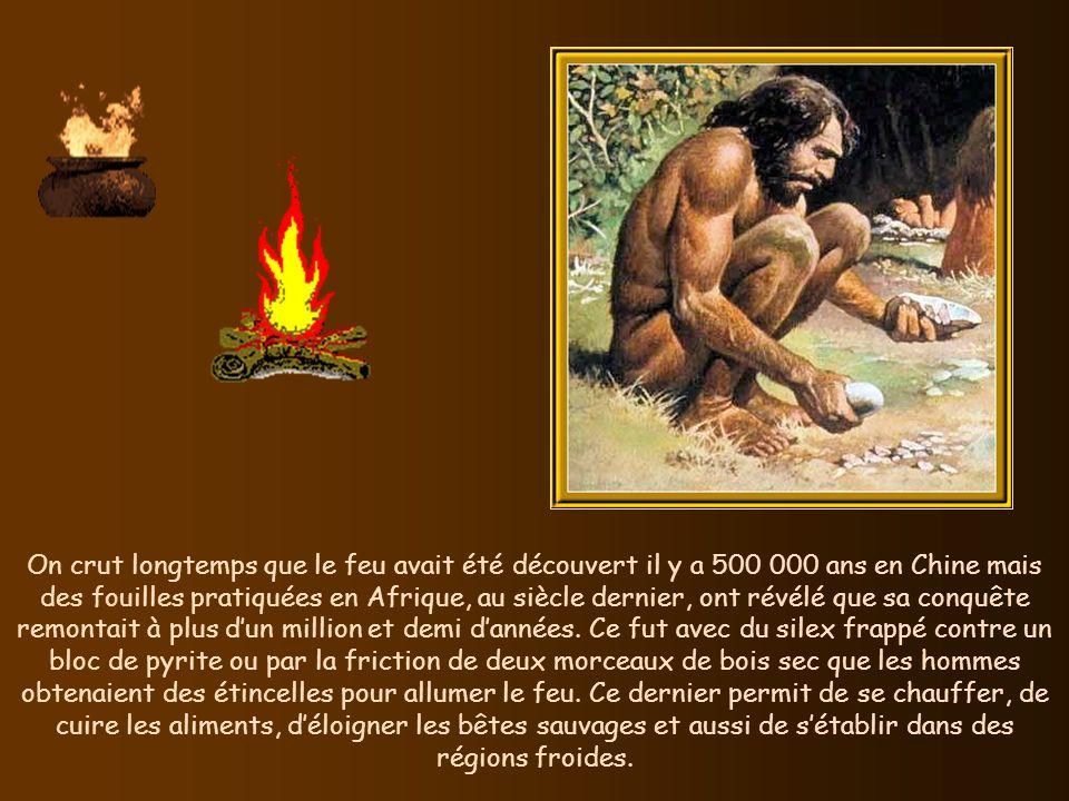On crut longtemps que le feu avait été découvert il y a 500 000 ans en Chine mais des fouilles pratiquées en Afrique, au siècle dernier, ont révélé que sa conquête remontait à plus d'un million et demi d'années.