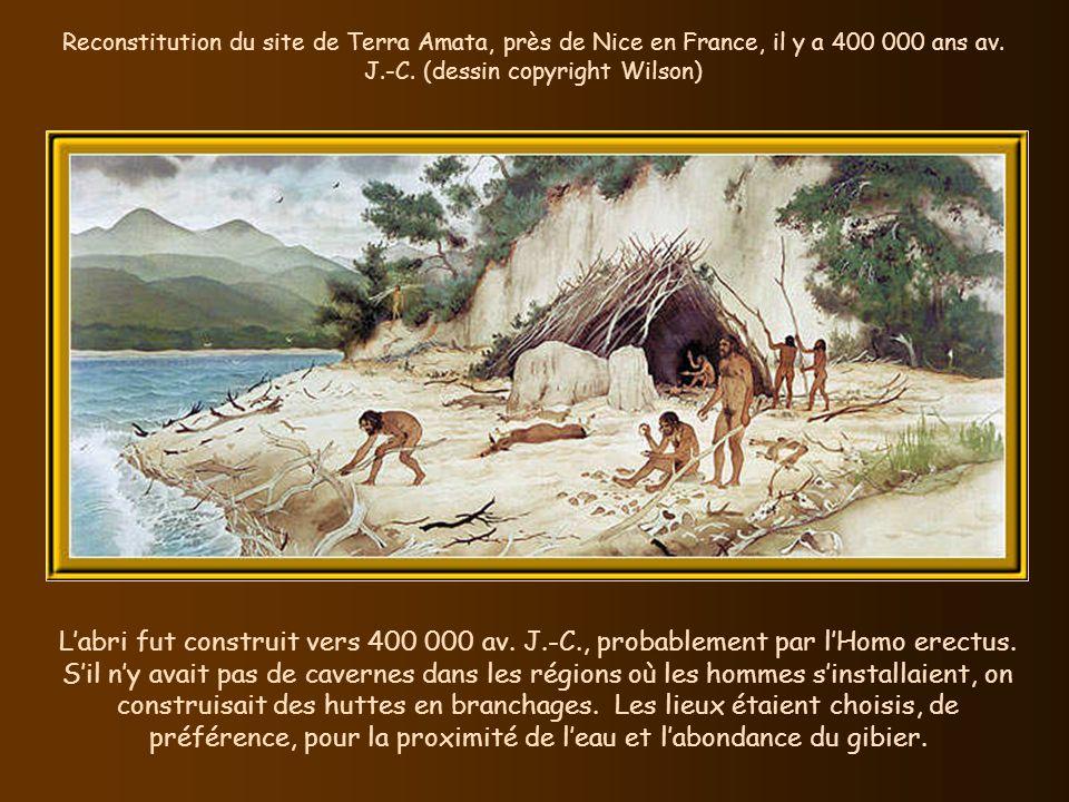 Reconstitution du site de Terra Amata, près de Nice en France, il y a 400 000 ans av. J.-C. (dessin copyright Wilson)