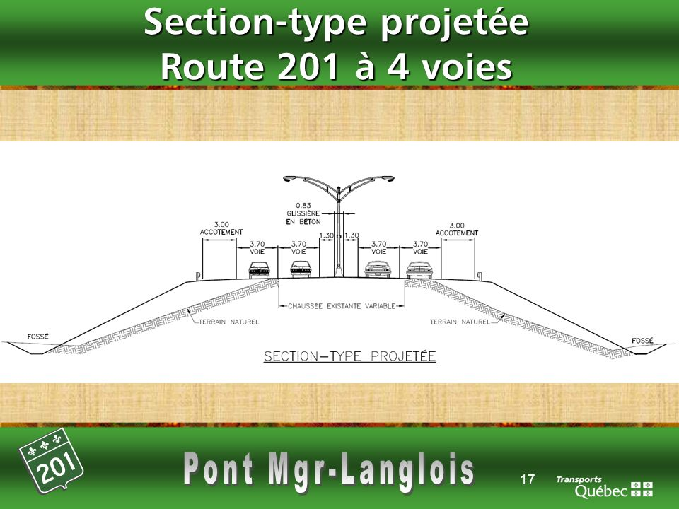 Section-type projetée Route 201 à 4 voies