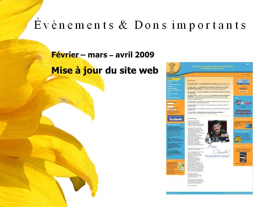 Février – mars – avril 2009 Mise à jour du site web