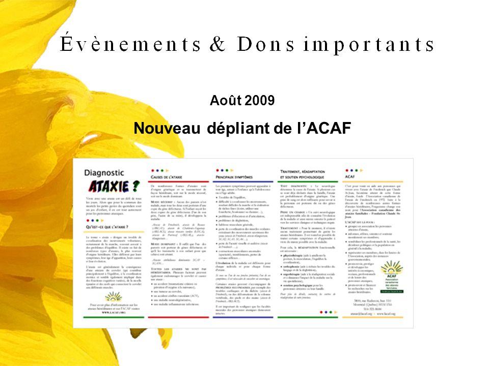 Nouveau dépliant de l'ACAF