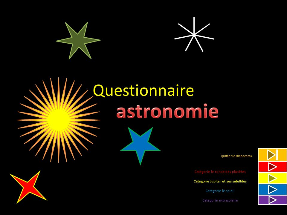 astronomie Questionnaire Catégorie le ronde des planètes