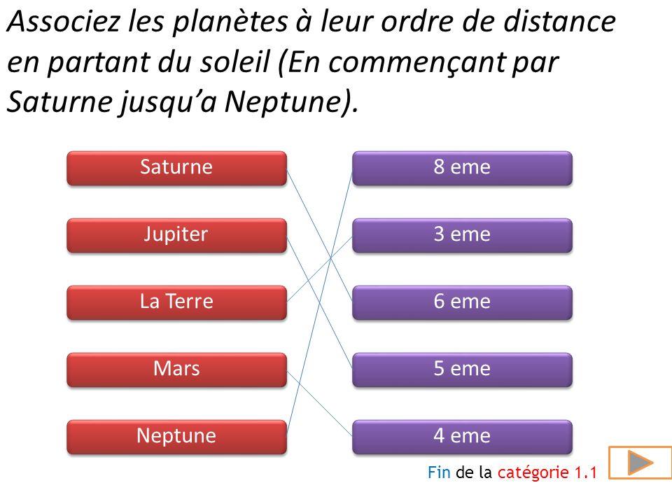 Associez les planètes à leur ordre de distance en partant du soleil (En commençant par Saturne jusqu'a Neptune).