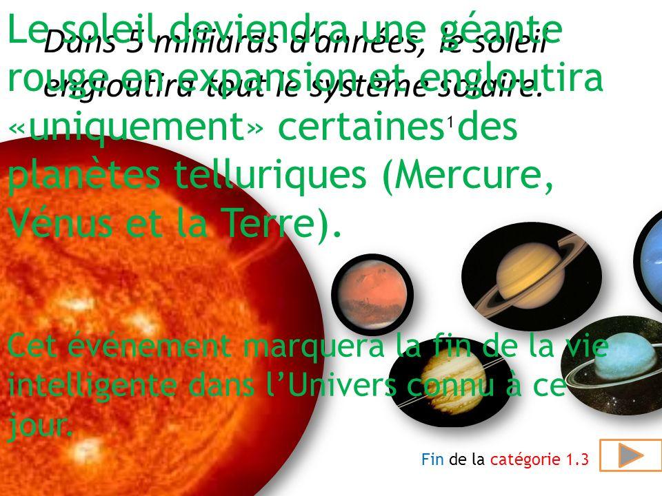 Le soleil deviendra une géante rouge en expansion et engloutira «uniquement» certaines des planètes telluriques (Mercure, Vénus et la Terre).