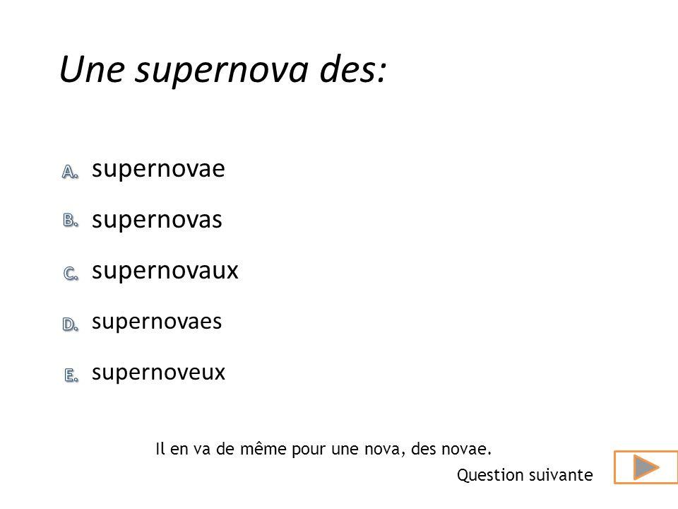 Une supernova des: supernovae supernovas supernovaux supernovaes