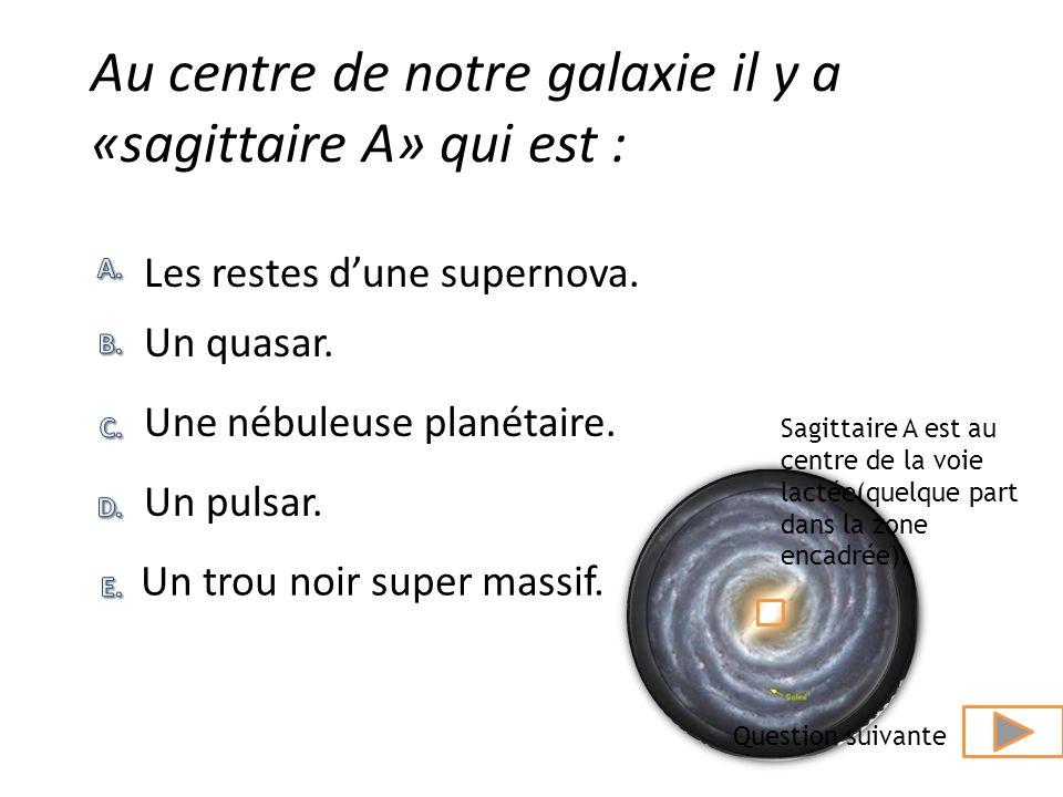 Au centre de notre galaxie il y a «sagittaire A» qui est :