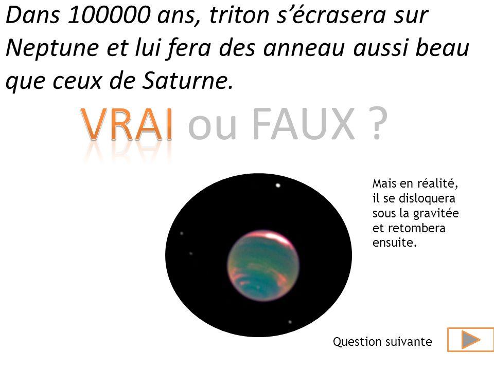 Dans 100000 ans, triton s'écrasera sur Neptune et lui fera des anneau aussi beau que ceux de Saturne.