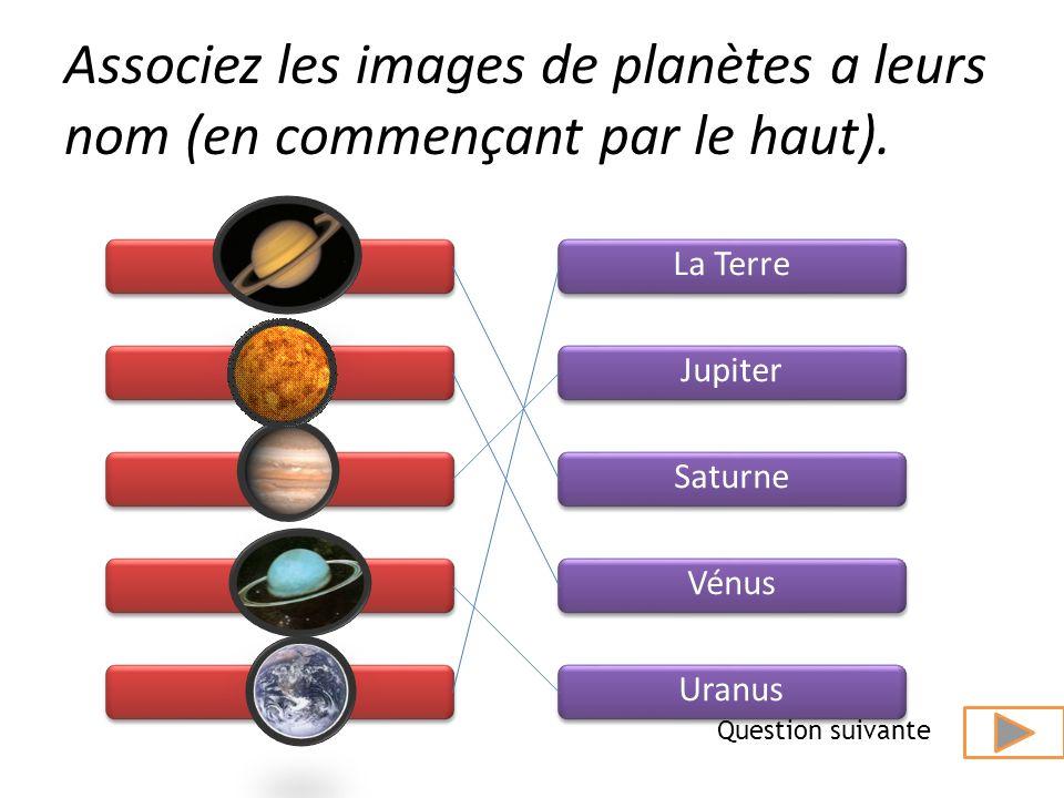 Associez les images de planètes a leurs nom (en commençant par le haut).