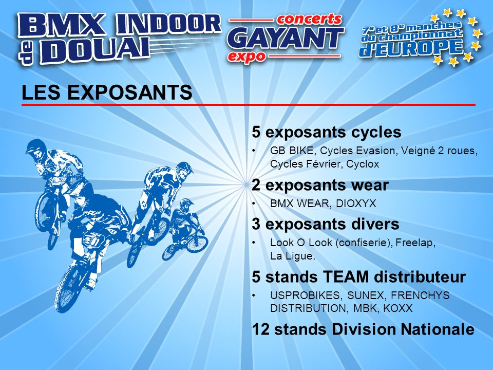 LES EXPOSANTS 5 exposants cycles 2 exposants wear 3 exposants divers
