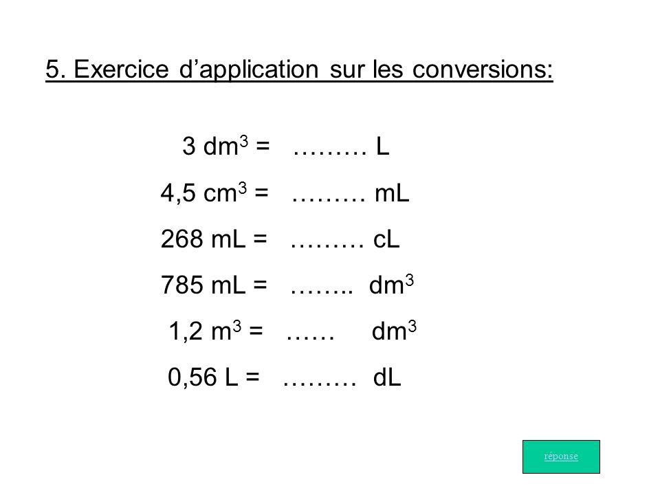 5. Exercice d'application sur les conversions: