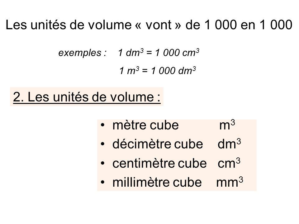 Les unités de volume « vont » de 1 000 en 1 000
