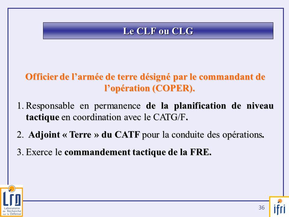 Le CLF ou CLG Officier de l'armée de terre désigné par le commandant de l'opération (COPER).
