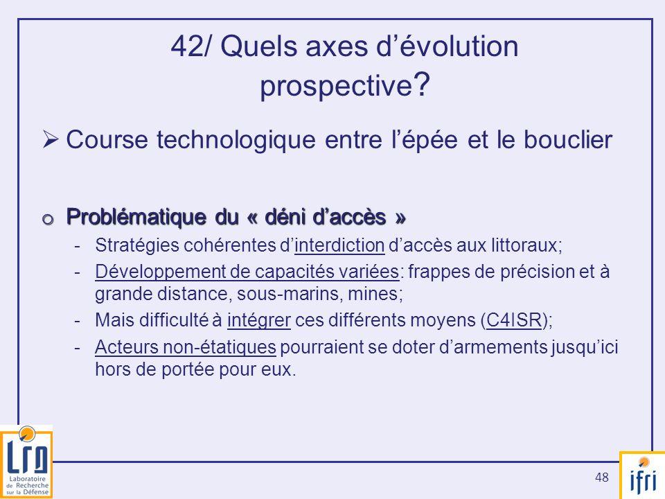 42/ Quels axes d'évolution prospective