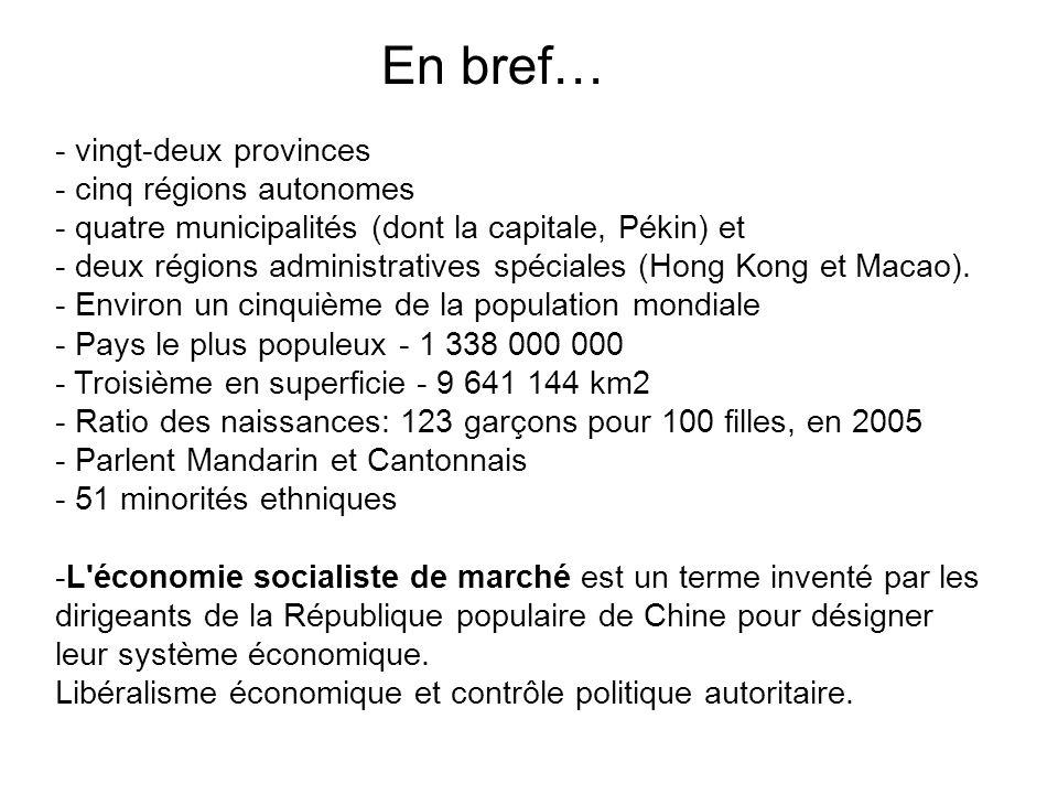 En bref… - vingt-deux provinces - cinq régions autonomes